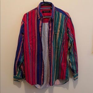Tops - 80's VERTICAL STRIPE LONGSLEEVE BUTTON UP